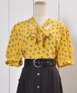 古着Owl Mark Pattern Silk Short Sleeve Shirt フクロウマーク柄 半袖柄シルクシャツ 古着のネット通販 古着屋グレープフルーツムーン