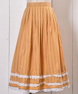 古着 Made in Europe Stripe Traditional Tyrolean Pattern Tyrol Skirt|ヨーロッパ製 ストライプ チロルスカート イエロー系 古着のネット通販 古着屋グレープフルーツムーン