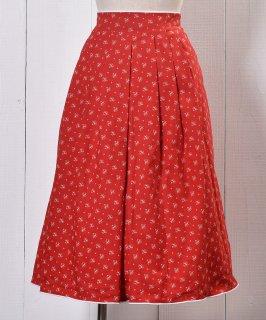 古着 Small Mark Flower Prints Pattern Tyrol Skirt|小紋柄 フラワープリント チロルスカート レッド系 古着のネット通販 古着屋グレープフルーツムーン