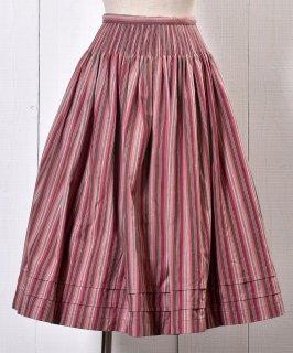 古着 Made in Europe Stripe Pattern Tyrol Skirt|ヨーロッパ製ストライプ チロルスカート ピンク系 古着のネット通販 古着屋グレープフルーツムーン