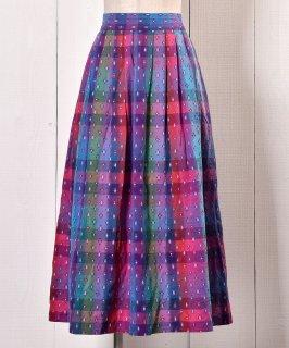 古着 Small Mark Prints Check Pattern Tyrol Skirt|小紋柄 プリント チェック チロルスカート 古着のネット通販 古着屋グレープフルーツムーン