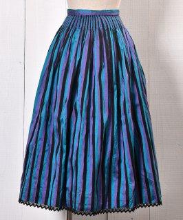 古着 Stripe Pattern Shirring Tyrol Skirt Silk|ストライプパターン シャーリング入りシルク製 チロルスカート 古着のネット通販 古着屋グレープフルーツムーン