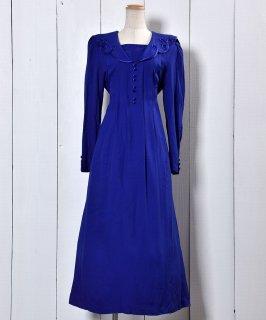 古着 Made in USA Rayon Dress | アメリカ製 レーヨンドレス ブルー 古着のネット通販 古着屋グレープフルーツムーン