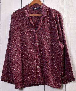 古着 Paisley Pattern Pajamas Shirt  ペイズリー柄パジャマシャツ   レッド系 古着 ネット 通販 古着屋グレープフルーツムーン