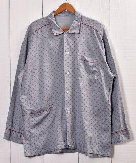 古着 Dot Pattern Pajamas Shirt  ドット柄 パジャマシャツ   グレー系 古着 ネット 通販 古着屋グレープフルーツムーン