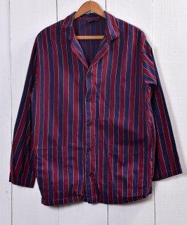 古着 regimental stripe Pajamas Shirt  レジメンタルストライプ パジャマシャツ   レッド系   ネイビー系 古着 ネット 通販 古着屋グレープフルーツムーン