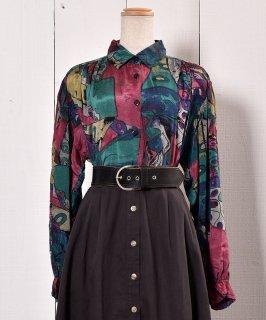古着 Made in Europe Artistic  Pattern Long Sleeve Shirt|ヨーロッパ製 長袖シャツ  油絵風 古着のネット通販 古着屋グレープフルーツムーン