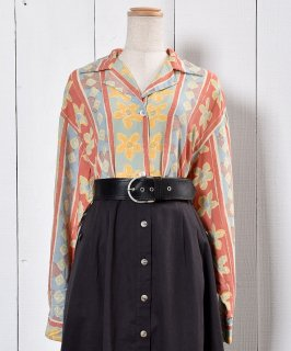 古着Native Flower Pattern Long Sleeve Shirt Open Collar ネイティブ 花柄 長袖シャツ 開襟 古着のネット通販 古着屋グレープフルーツムーン