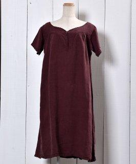 古着 Made in Europe Antique Linen One Piece Over Dye | ヨーロッパ製アンティークリネン ワンピース 後染め 古着のネット通販 古着屋グレープフルーツムーン