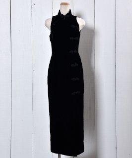 古着 Velvet China Button Dress| チャイナボタン ベロアノースリーブドレス 古着のネット通販 古着屋グレープフルーツムーン