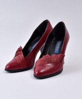 古着 Made in Spain Leather Design Pumps Red | スペイン製レザーデザインパンプス レッド系 古着のネット通販 古着屋グレープフルーツムーン
