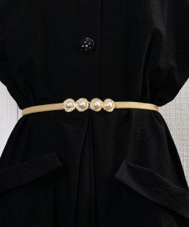 古着Pearl Circle Belt| 真珠デザイン ゴムベルト ベージュ 古着のネット通販 古着屋グレープフルーツムーン