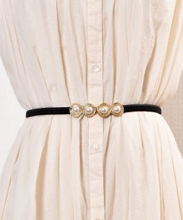 古着Pearl Circle Belt| 真珠デザイン ゴムベルト ブラック 古着のネット通販 古着屋グレープフルーツムーン