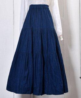 古着 Tiered Denim Skirt|ティアード デニムスカート  ゴムウエスト 古着のネット通販 古着屋グレープフルーツムーン