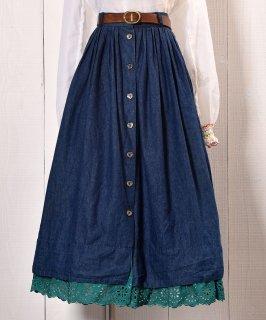 古着 Flare Denim Skirt Heart Button|フレア デニムスカート ハートボタン 古着のネット通販 古着屋グレープフルーツムーン