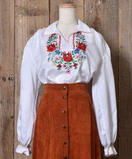 古着 Long Sleeve Hungary Embroidery Tunic Blouse|長袖 刺繍 ハンガリ—刺繍 チュニックブラウス 古着のネット通販 古着屋グレープフルーツムーン
