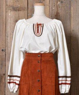 古着 Long Sleeve Tunic Blouse  |長袖 チュニックブラウス デザインテープ 古着のネット通販 古着屋グレープフルーツムーン