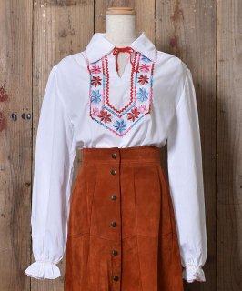 古着 Long Sleeve Embroidery Tunic Blouse  |長袖 刺繍 チュニックブラウス 古着のネット通販 古着屋グレープフルーツムーン