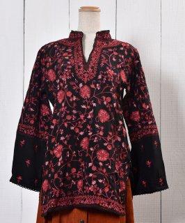 古着 Long Sleeve Embroidery Tunic  Blouse Stand Collar|長袖 刺繍 チュニックブラウス スタンドカラ— 古着のネット通販 古着屋グレープフルーツムーン