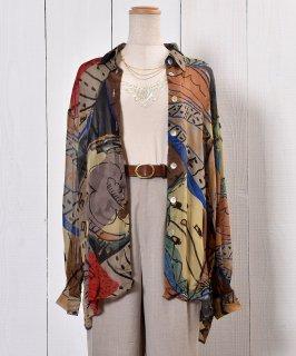 古着Multi Pattern Sheer Shirt|総柄シアーシャツ 古着のネット通販 古着屋グレープフルーツムーン