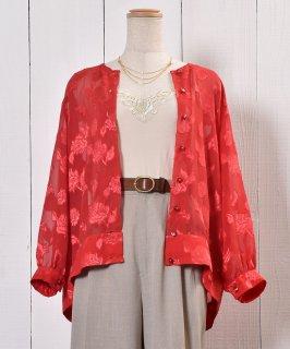 古着Flower Pattern Sheer Shirt|花柄シアーシャツ | ノーカラーシャツ | オリエンタル柄 古着のネット通販 古着屋グレープフルーツムーン