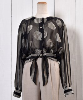 古着Dot × Stripe Pattern  Sheer Blouse|ドット×ストライプ シアーブラウス | シアーシャツ | ショートシャツ 古着のネット通販 古着屋グレープフルーツムーン