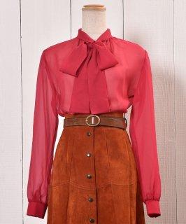 古着Bowtie  Sheer Blouse|ボウタイ シアーブラウス | シアーシャツ | ピンク系 古着のネット通販 古着屋グレープフルーツムーン