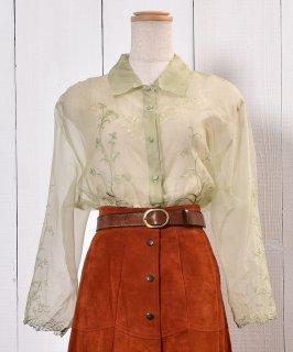 古着Flower Embroidery Sheer Shirt|花刺繍シアーシャツ | 古着のネット通販 古着屋グレープフルーツムーン