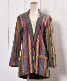 古着 Made in India  Tailored Jacket Cotton Multi Stripe|インド製 マルチストライプ テーラードジャケット   古着のネット通販 古着屋グレープフルーツムーン