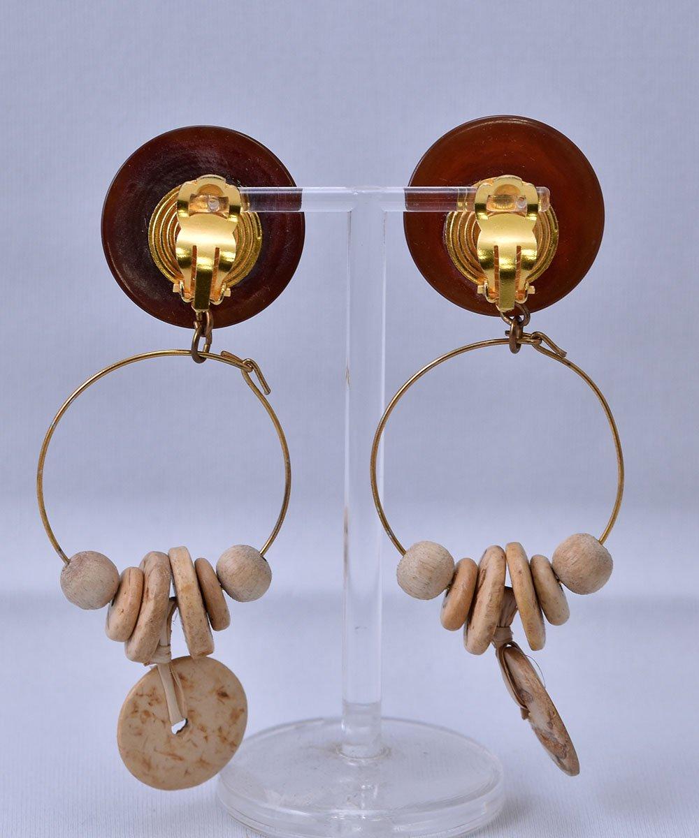 Made in USA Circle Motif Earring Stone Wood Parts  アメリカ製 丸型 ストーン ウッドパーツ イヤリングサムネイル