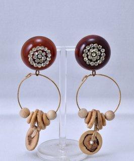 古着 Made in USA Circle Motif Earring Stone Wood Parts |アメリカ製 丸型 ストーン ウッドパーツ イヤリング 古着のネット通販 古着屋グレープフルーツムーン