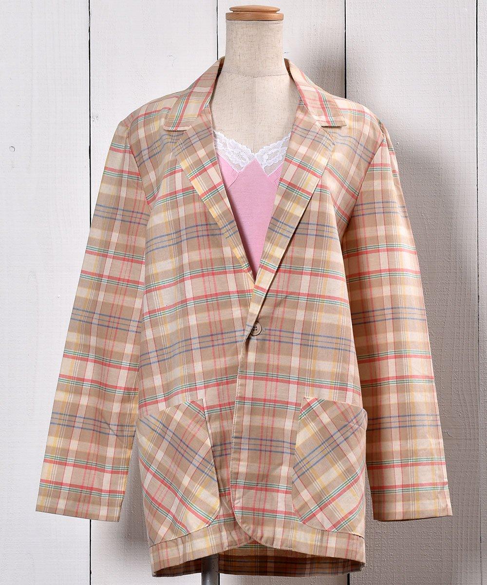 古着 Check Pattern Tailored Jacket |チェック柄 テーラードジャケット 古着 ネット 通販 古着屋グレープフルーツムーン