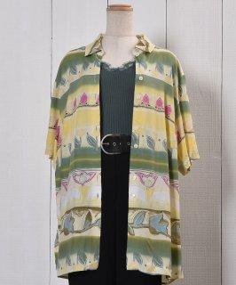 古着Short Sleeve Shirt Flower Pattern Tulip    半袖 シャツ チューリップ柄  古着のネット通販 古着屋グレープフルーツムーン