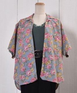 古着 Made in India Short Sleeve Cotton Shirt Flower Pattern |インド製 半袖 コットンシャツ 花柄 牡丹 古着のネット通販 古着屋グレープフルーツムーン