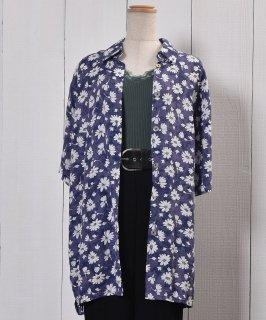 古着 Short Sleeve Shirt Flower Pattern Cosmos Shell Button|半袖 花柄 コスモス シェルボタン 古着のネット通販 古着屋グレープフルーツムーン