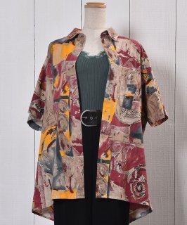 古着Short Sleeve Cotton Shirt Artistic Painted   半袖 コットンシャツ 総柄  古着のネット通販 古着屋グレープフルーツムーン