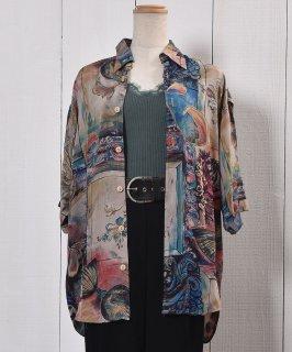古着Made in France Short Sleeve Shirt Artistic Painted Arabesque  フランス製 半袖 シャツ 総柄 アラベスク 古着のネット通販 古着屋グレープフルーツムーン