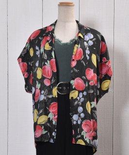 古着Short Sleeve Shirt Fruit Pattern  半袖 シャツ フルーツ柄  古着のネット通販 古着屋グレープフルーツムーン