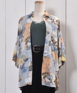 古着Short Sleeve Shirt Flower Pattern Lily Shell Button 半袖 シャツ 花柄 ユリ シェルボタン 古着のネット通販 古着屋グレープフルーツムーン
