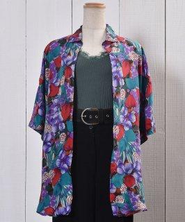 古着Short Sleeve Silk Shirt Flower Pattern 半袖 シルクシャツ 花柄  古着のネット通販 古着屋グレープフルーツムーン