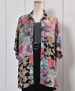 古着Made in USA Short Sleeve Shirt  Flower Pattern Patchwork  アメリカ製 半袖 シャツ 花柄 パッチワーク 古着のネット通販 古着屋グレープフルーツムーン