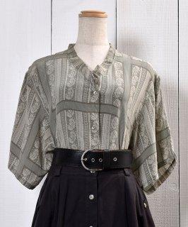 古着 Short Sleeve Silk Shirt Paisley Pattern Shell Button|半袖 シルクシャツ ペイズリー柄 シェルボタン 古着のネット通販 古着屋グレープフルーツムーン