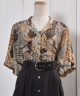 古着Short Sleeve Shirt Artistic Painted  半袖 シャツ 総柄  古着のネット通販 古着屋グレープフルーツムーン