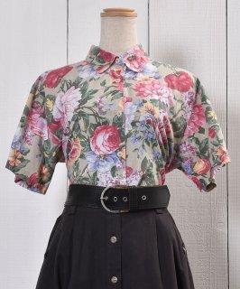 古着Made in USA Short Sleeve Shirt Flower Pattern アメリカ製 半袖 シャツ 花柄 古着のネット通販 古着屋グレープフルーツムーン