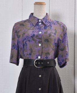 古着Short Sleeve Shirt Flower Pattern Viola 半袖 シャツ 花柄 スミレ 古着のネット通販 古着屋グレープフルーツムーン