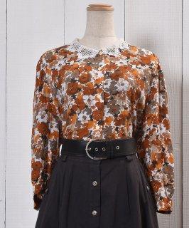 古着 7 Sleeve Shirt Flower Pattern Lace Collar|七分袖 シャツ 花柄 レース襟 古着のネット通販 古着屋グレープフルーツムーン