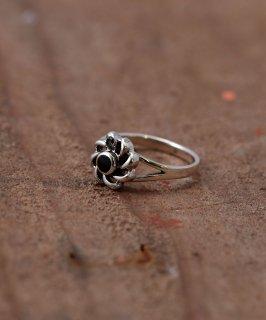 古着 Silver Ring Black Flower | オニキス使用 フラワーモチーフ シルバーリング 古着のネット通販 古着屋グレープフルーツムーン