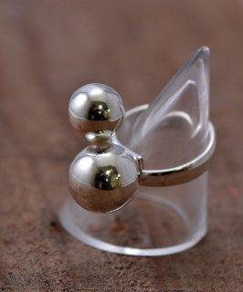 古着Silver Ring 2 Ball Spesium Rays | ボール交差デザイン シルバーリング 古着のネット通販 古着屋グレープフルーツムーン