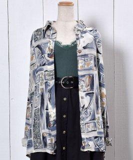 古着 Artistic Painted Long Sleeve Silk Shirt|総柄 長袖 シルクシャツ 古着のネット通販 古着屋グレープフルーツムーン
