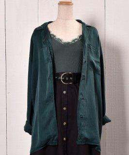 古着 Stripe  Long Sleeve Silk Shirt Open Collar| 長袖 シルクシャツ シャドーストライプ 開襟 古着のネット通販 古着屋グレープフルーツムーン